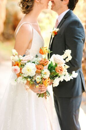 Orange-and-White Bouquet With Rose and Sweet Pea