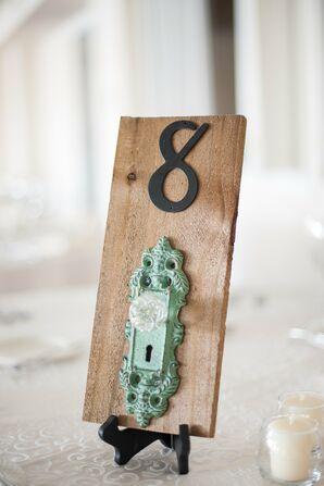 Vintage Wood and Doorknob Table Numbers