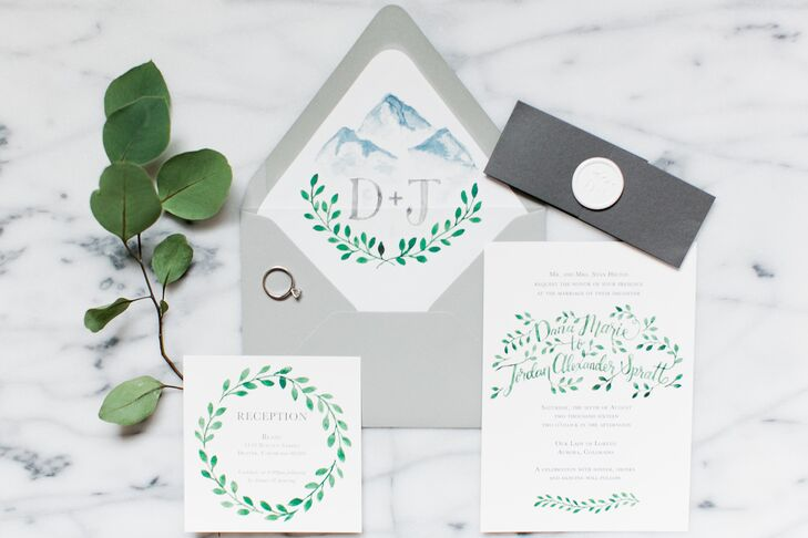 Natural Watercolor Invitation Suite with Mountain Motif