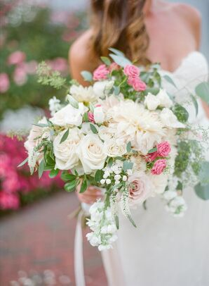 Textured Blush Dahlia and Rose Bouquet
