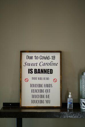 Social Distancing Sign at Wedding Reception