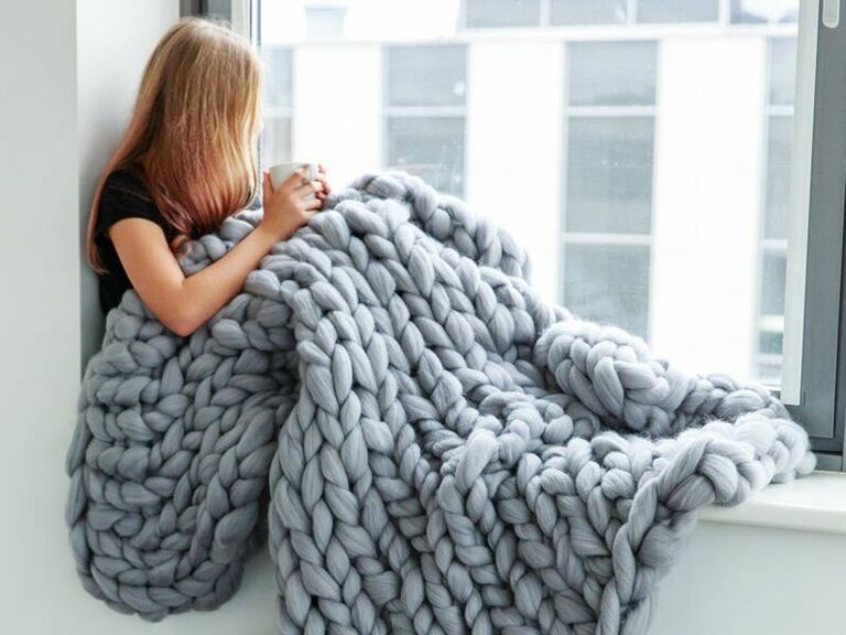Chunky knit wool blanket 7 year anniversary gift for wife or husband