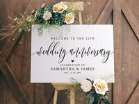 Minimalist design 'Welcome to the 25th wedding anniversary' in black calligraphy, personalized names and wedding date