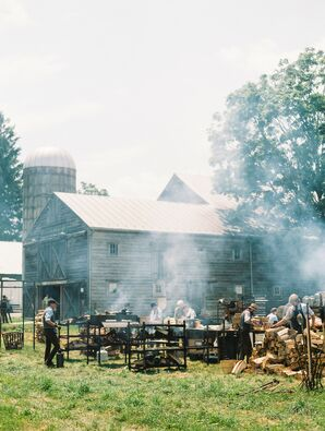 Open Wood Fires Cooking Food at Barn Wedding in Hudson Valley, NY