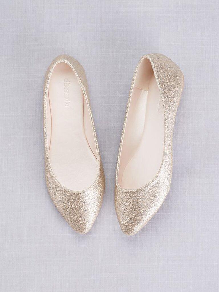 Gold glitter wedding pointed toe flats