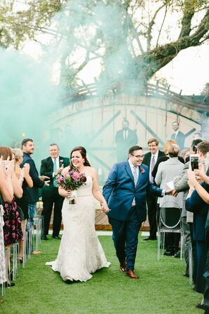 Blue Smoke Bomb During Wedding Recessional