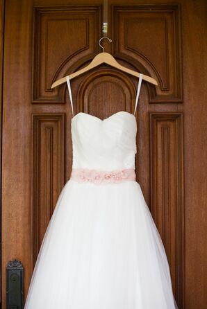 A-Line Wedding Dress With Blush Sash