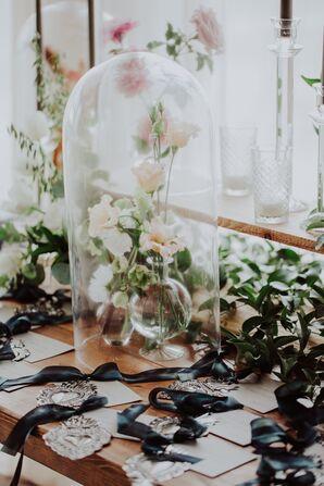 Neutral Flowers Under Glass Cloche Centerpiece