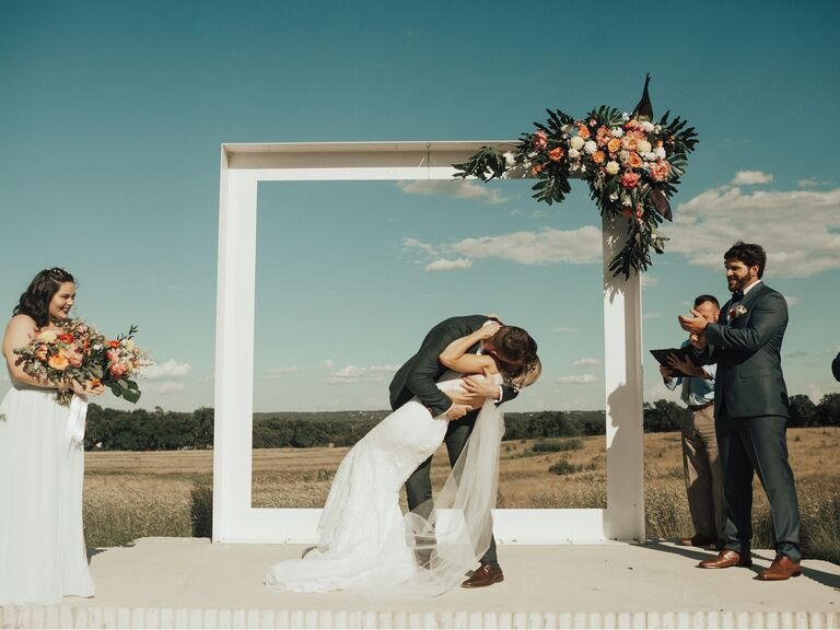 picture frame inspired wedding arch