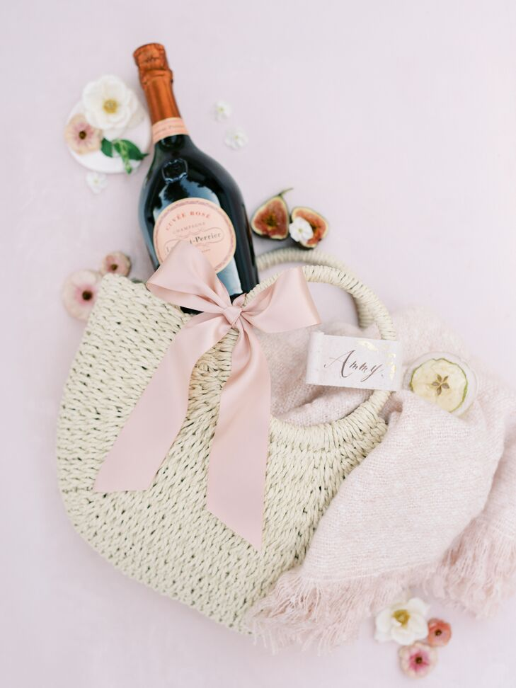 Woven Welcome Bags Filled With Rosé and Snacks