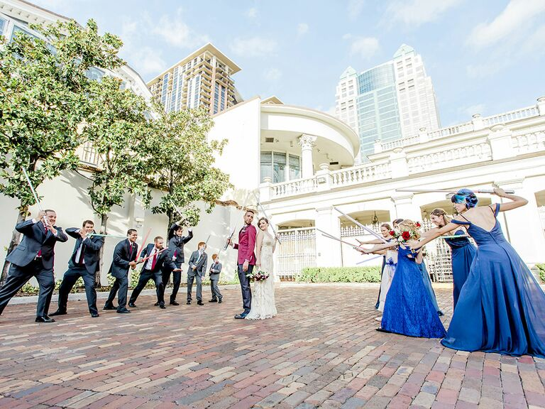 Star Wars wedding lightsabers