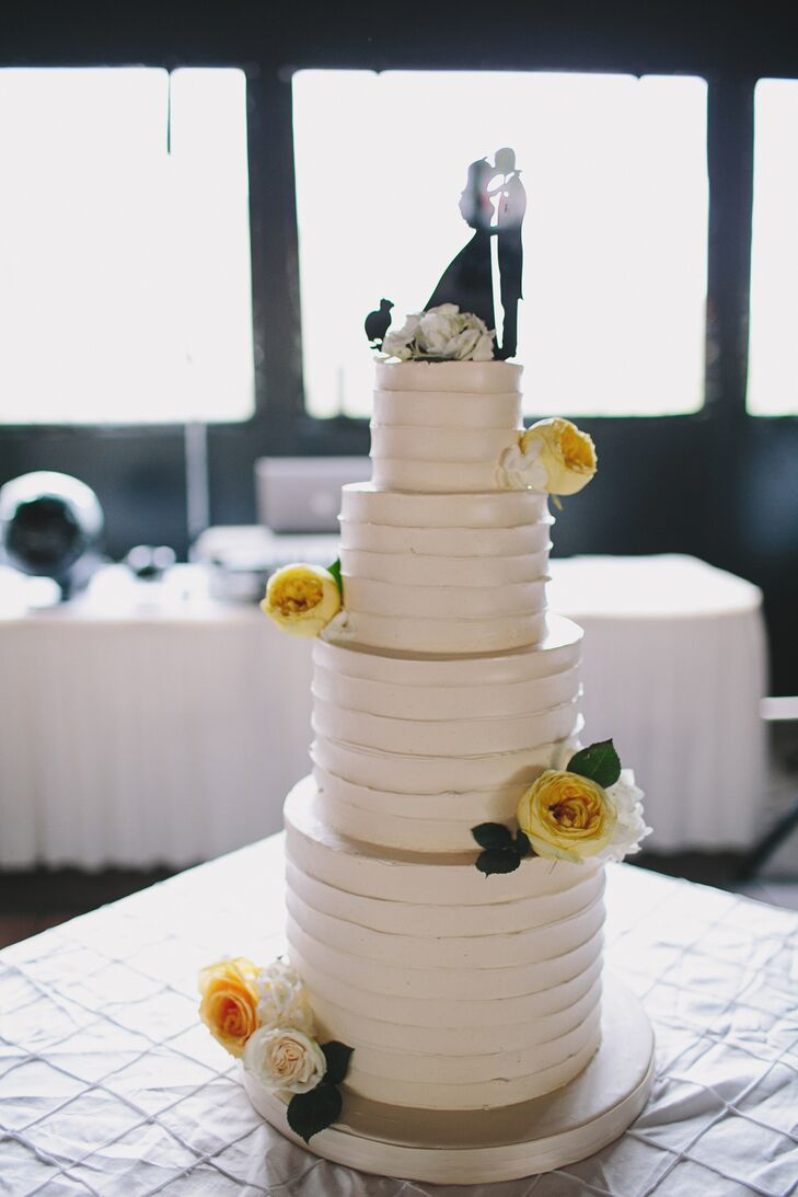 Combed Buttercream Wedding Cake with Yellow Roses