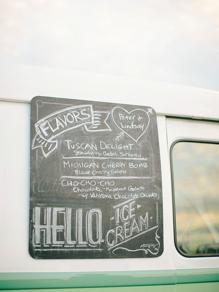 Ice cream food truck dessert station for a wedding reception