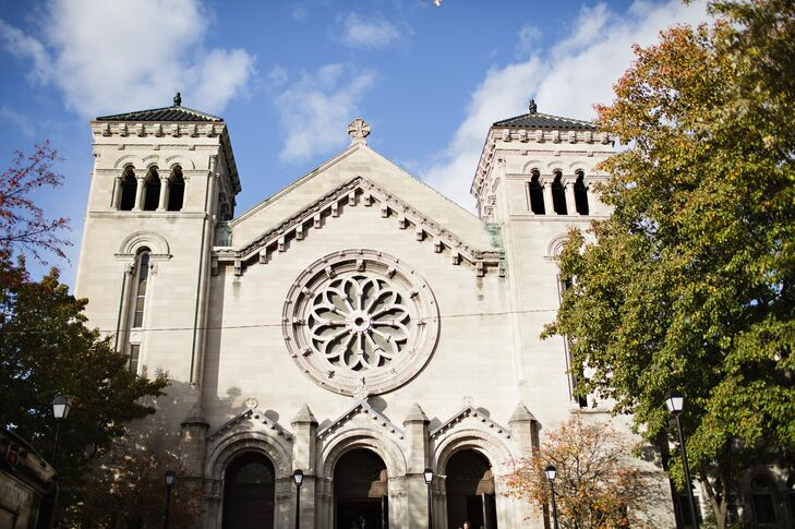 """The couple wed in a ceremony at St. Clement Catholic Parish in Lincoln Park. """"The setting offered the perfect backdrop for our traditional ceremony,"""" the bride says."""