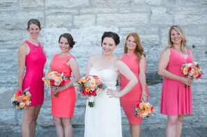 Mismatched, Short Coral Bridesmaid Dresses