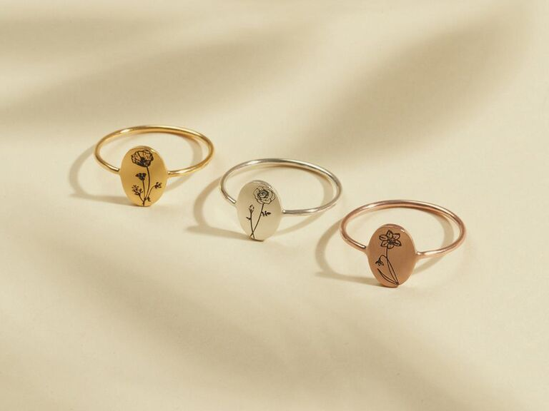Birth flower rings for bridal party