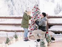 snowy Christmas proposal in Utah