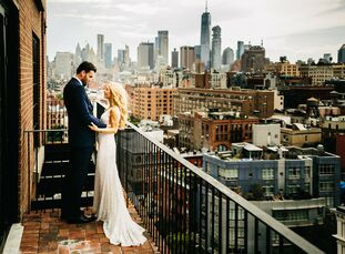 """Monica Borzen and Chris Padfield wed on the third anniversary of their meeting (Fourth of July weekend) at The Bowery Hotel in New York City. """"Neither"""