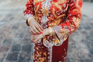 Bride With Gold Jewelry Received During Chinese Tea Ceremony