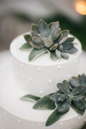 Succulent-Topped Buttercream Wedding Cake