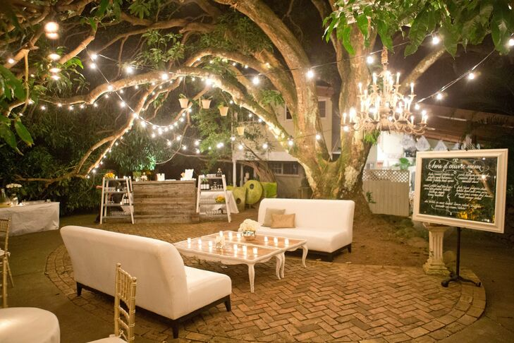 Guests enjoyed a rustic, woodland lounge area during the reception.