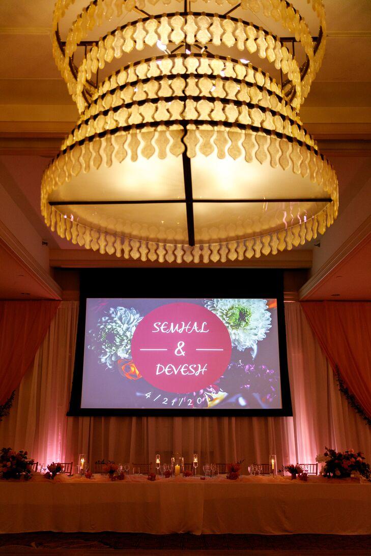 Modern Reception with Elegant Chandelier in Ballroom