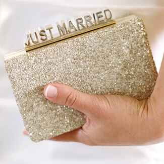 """Gold sparkly """"Just Married"""" bridal clutch"""