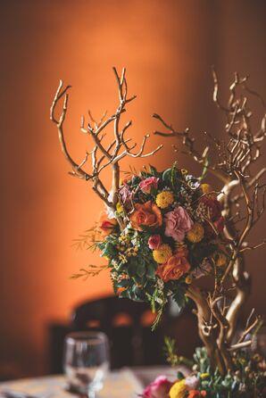Rose, Dahlia and Succulent Branch Centerpiece