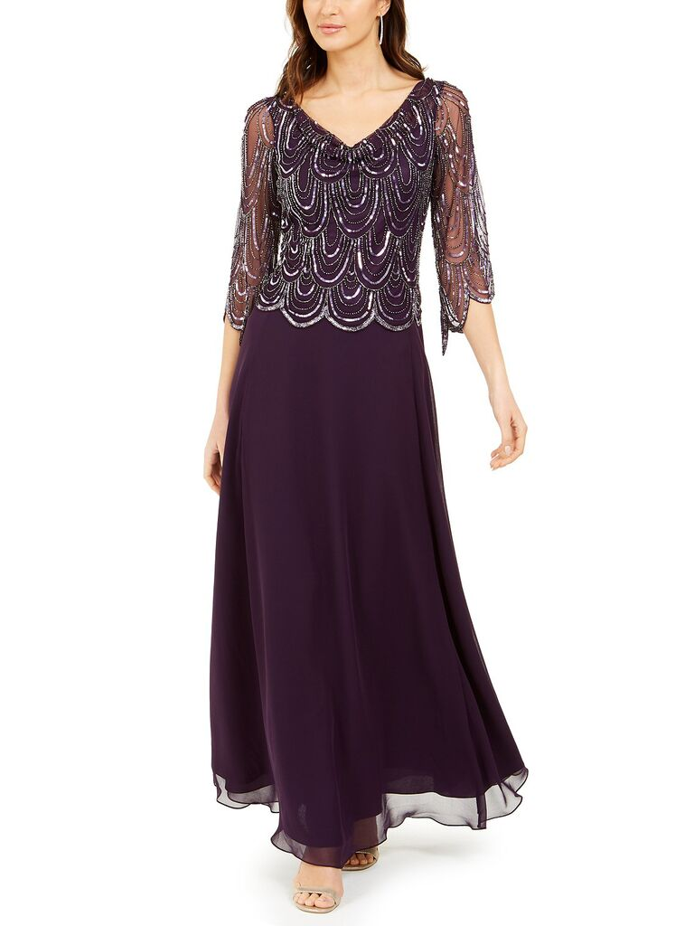 J Kara cowl neck beaded gown