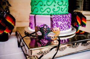 Mardi Gras-Themed Green and Purple Tiered Wedding Cake