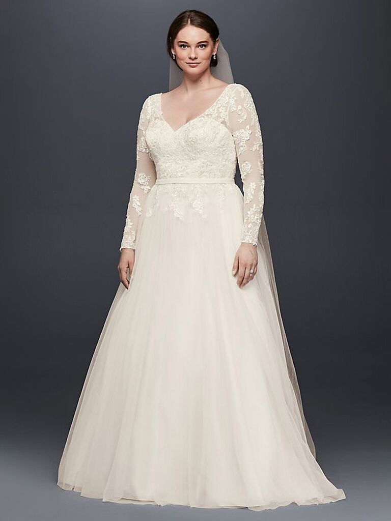 david's bridal off white a line wedding dress with long lace sleeves with v-neckline sweetheart neckline dress and flowy tulle skirt