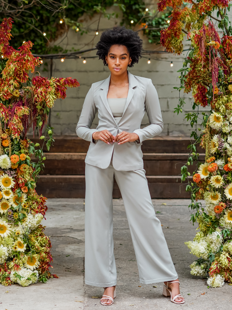 """Abercrombie x The Knot's """"Best Dressed Guest"""" Collection sage green suit"""
