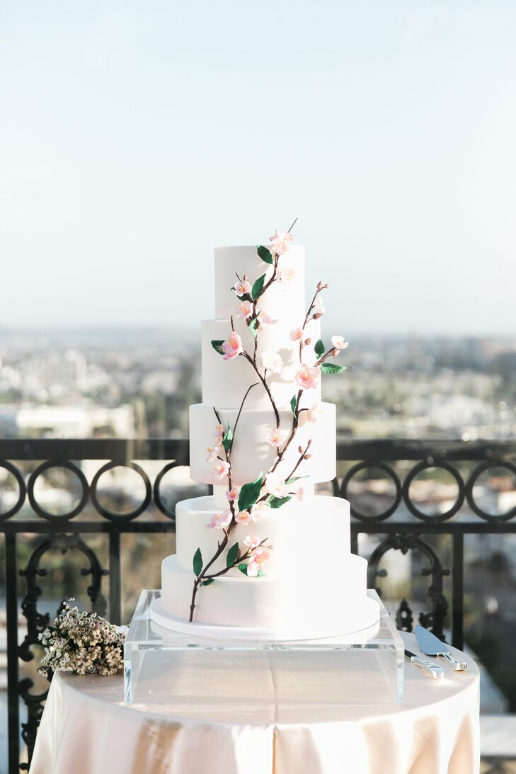 Romantic Wedding Cake with Cherry Blossoms and Fondant