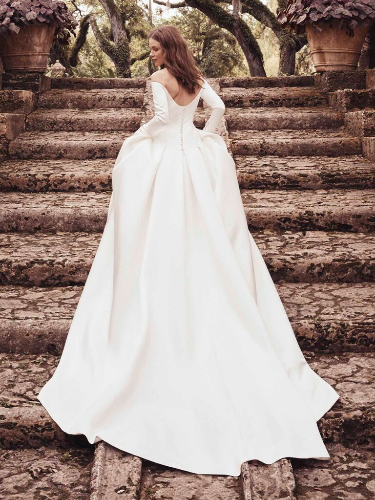 Monique Lhuillier Spring 2020 Bridal Collection off-the-shoulder long-sleeve wedding dress