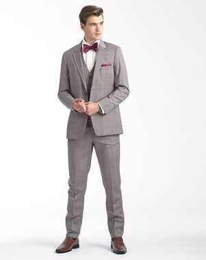 Allure Men Sandstone Window Pane Gray Tuxedo