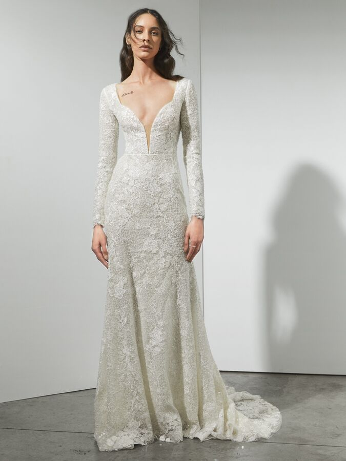 Rivini long sleeve beaded lace sheath wedding dress