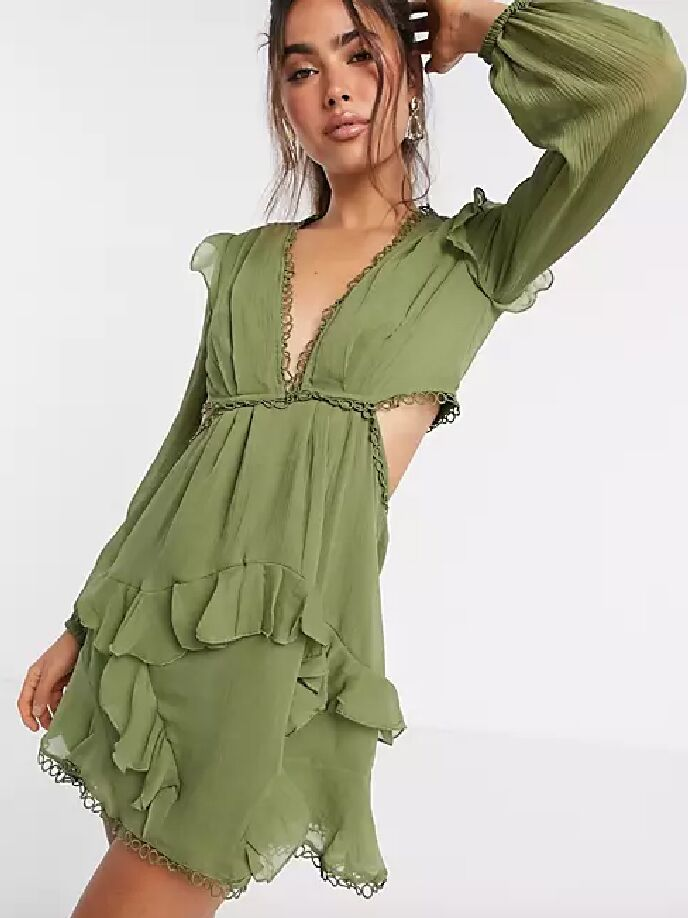 Green long sleeve fall wedding guest dress with back cutouts