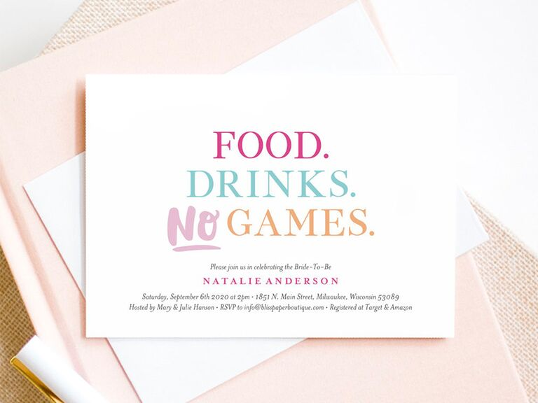 'Food. Drinks. No Games' in pastel colors on white background