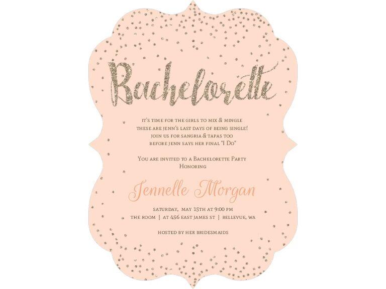 champagne peach gold bachelorette party invite