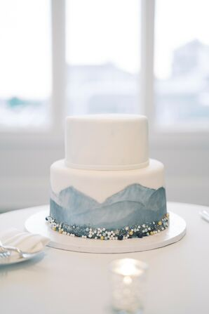 Blue-and-White Cake for Wedding at Wychmere Beach Club in Harwich Port, Massachusetts
