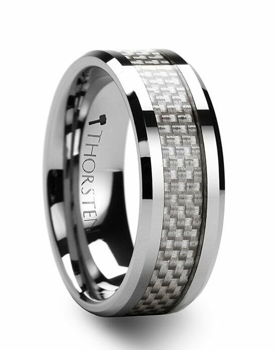 Larson Jewelers ULTIMUS Beveled White Carbon Fiber Inlay Tungsten Band 4mm - 12mm Wedding Ring photo