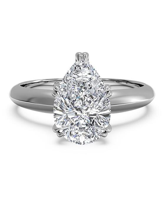 Ritani Solitaire Diamond Knife-Edge Tulip Engagement Ring - in 14kt White Gold for a Pear Center Stone Engagement Ring photo