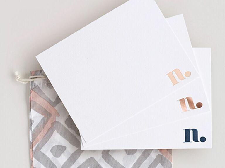 Monogram letterpress stationery 7 year anniversary gift