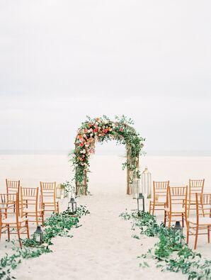 Cape May Beach Wedding Arch and Aisle Decor