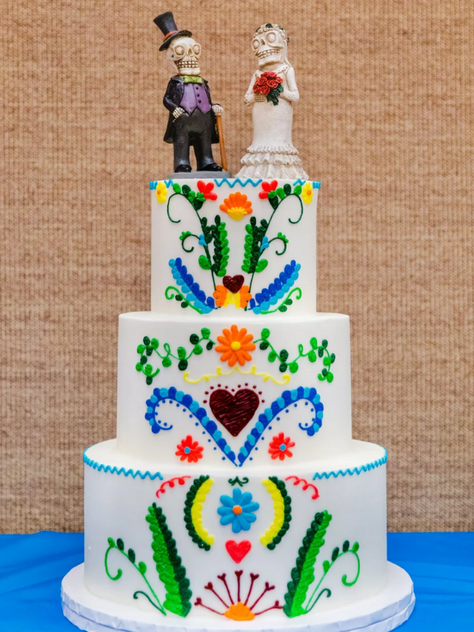 Three-tier cake with Mexican-inspired details