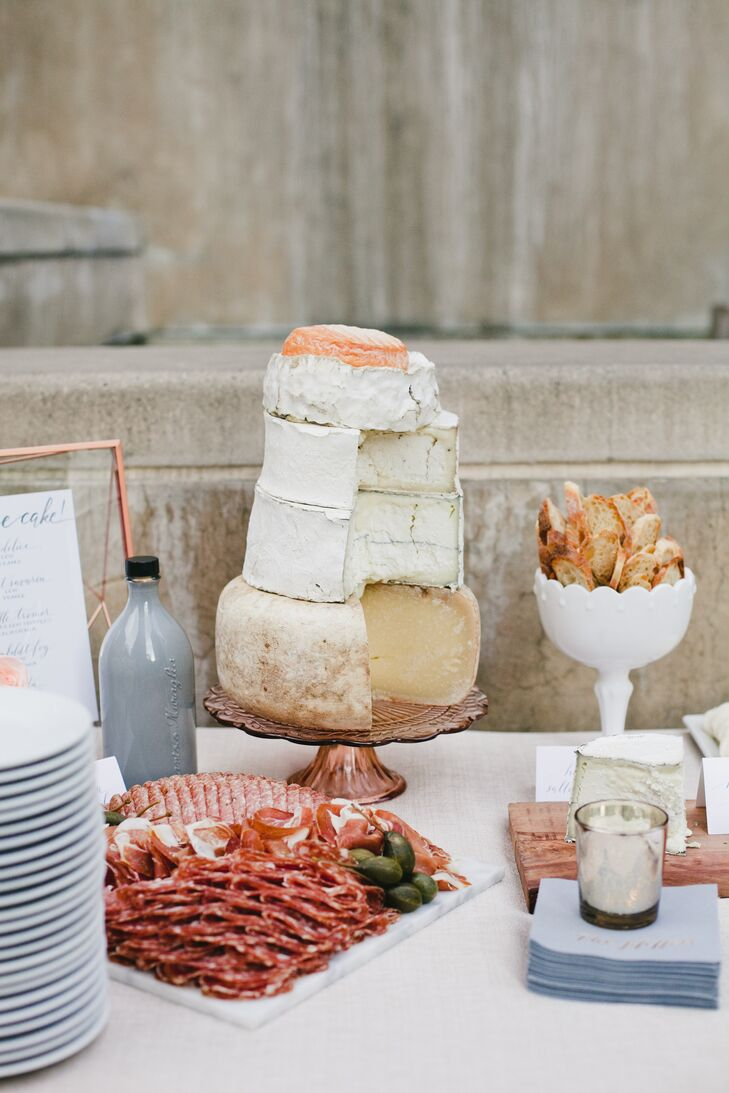 """""""We had the Cheese Shop of Beverly Hills create a 'cheesecake' and a massive charcuterie plate as an ode to how we start every dinner party at our house,"""" Shannon says."""