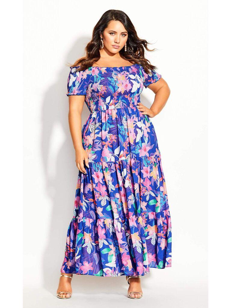 Blue floral print off-the-shoulder maxi plus-size dress