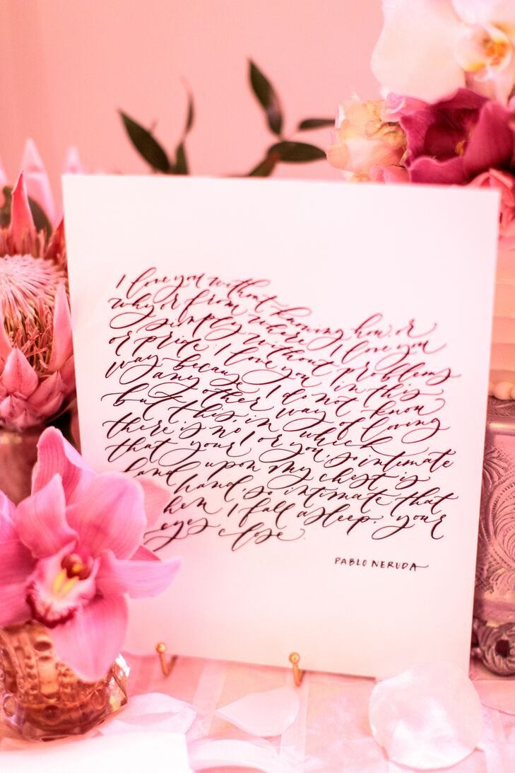 Elegant Sign with Calligraphed Pablo Neruda Poem