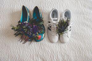 Wedding Shoes with Feathers and Flowers