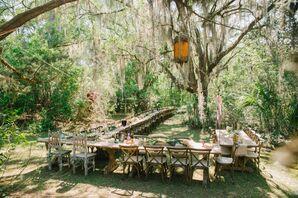 Casual Boho Wedding Reception Outside